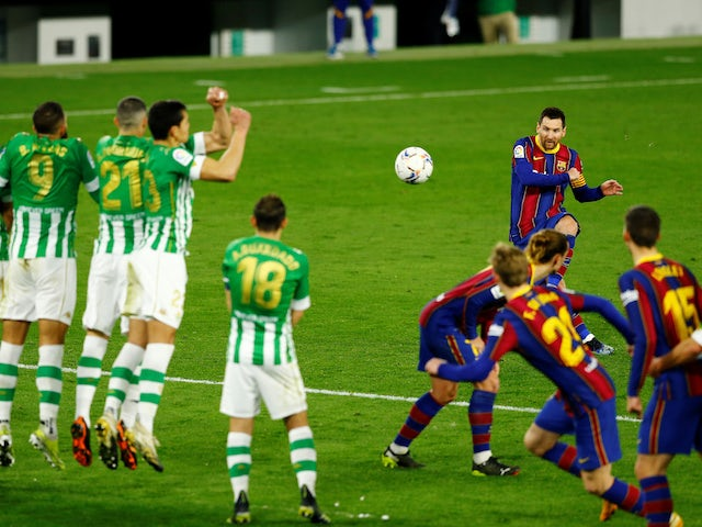 Lionel Messi from Barcelona took a free kick during the La Liga clash with Real Betis on February 7, 2021