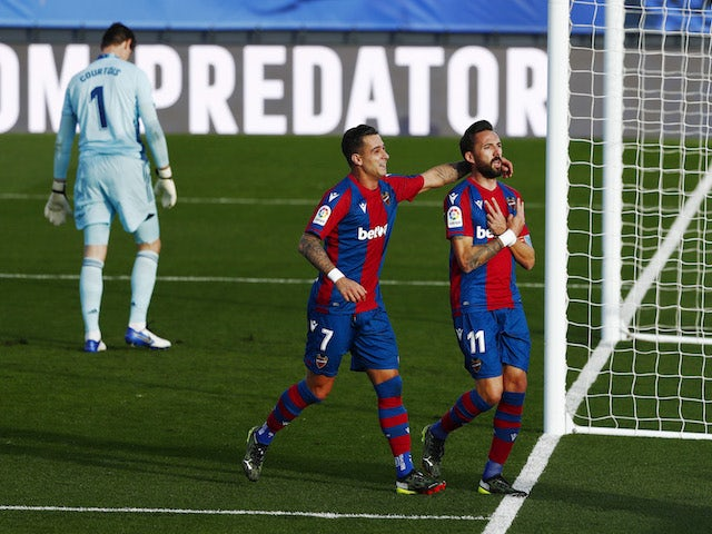Levante's Jose Luis Morales celebrates his first goal against Real Madrid on January 30, 2021