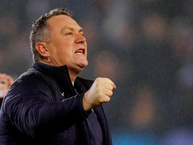 Tranmere Rovers manager Micky Mellon celebrates after the match on January 23, 2020