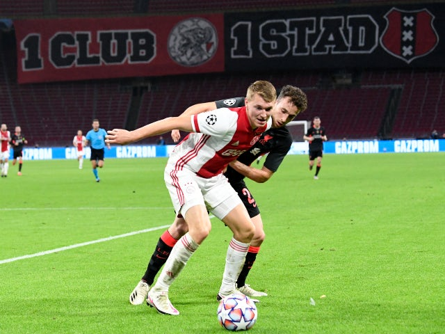 Perr Schuurs of Ajax in action against Liverpool in October 2020