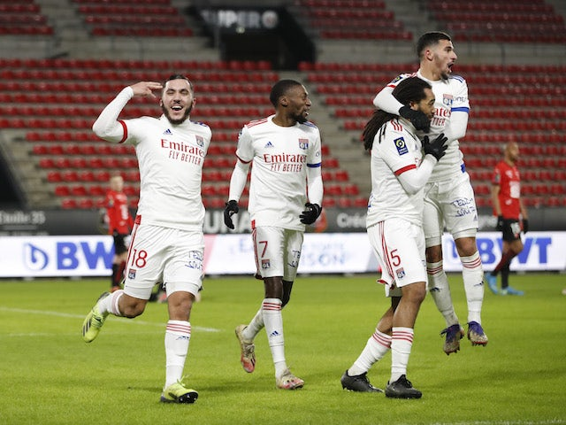 Lyon's Jason Denayer celebrates with his teammates after scoring against Rennes on 9 January 2021