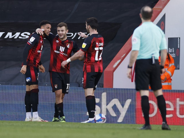 Bournemouth's Jack Wilshere celebrates after scoring his second goal on February 6, 2021