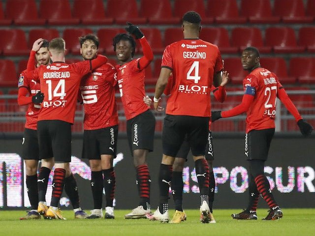 Clement Grenier of Rennes celebrates his first goal with teammates on January 9, 2021