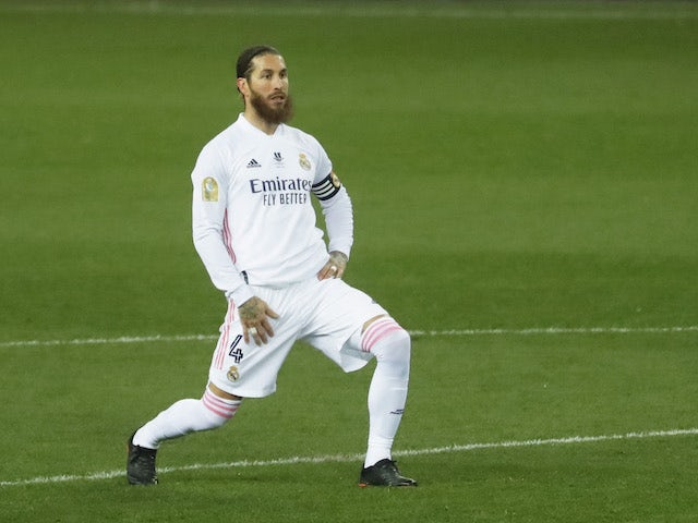 Sergio Ramos of Real Madrid has a stretch on January 14, 2021