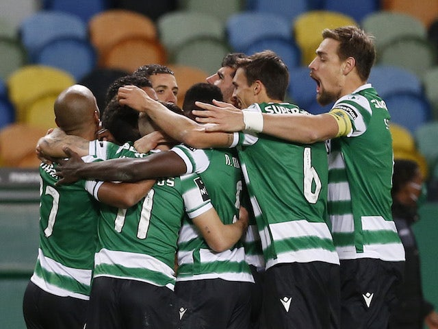 Pedro Gonçalves, from Sporting Lisboa, celebrates his first goal with teammates in January 2021