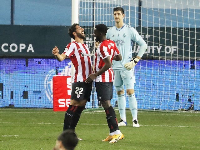 Athletic Bilbao's Raul Garcia celebrates his goal against Real Madrid in the semifinals of the Spanish Super Cup on January 14, 2021