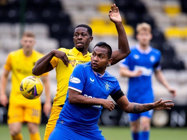 Livingston's Marvin Bartley in action with Rangers' Alfredo Morelos in August 2020