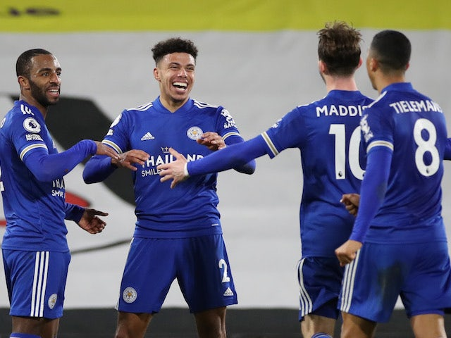 James Justin of Leicester City celebrates his goal against Fulham in the Premier League on February 3, 2021