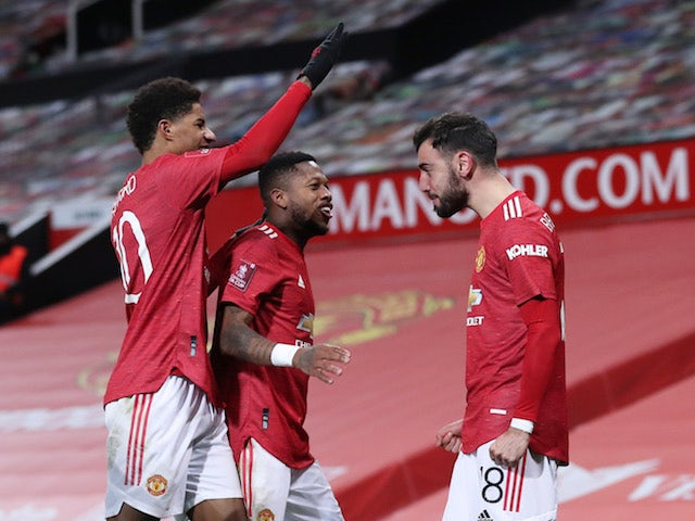 Manchester United's Bruno Fernandes celebrates his goal against Liverpool in the FA Cup on January 24, 2021